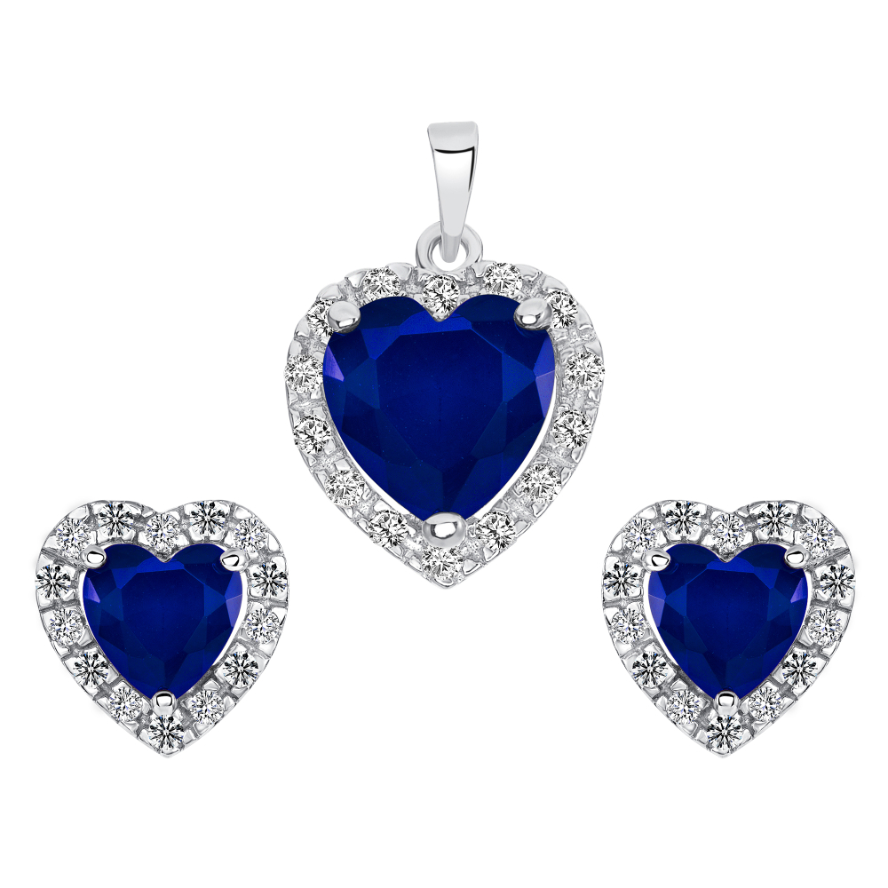 Sterling Silver Heart Sapphire Matte Glass Set