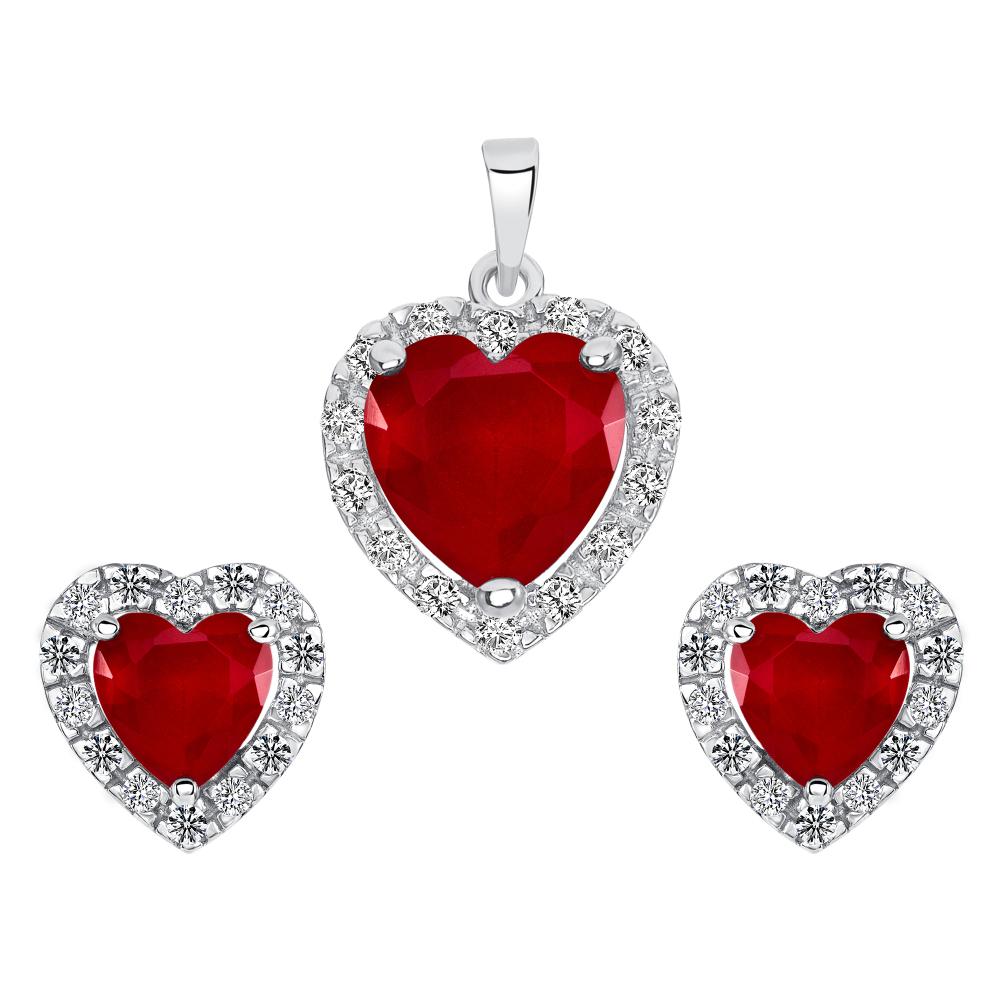 Sterling Silver Heart Ruby Matte Glass Set