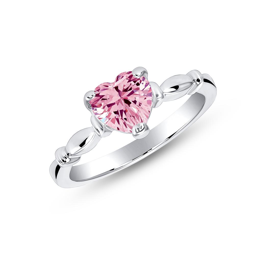 Sterling Silver Pink Heart Designer Ring