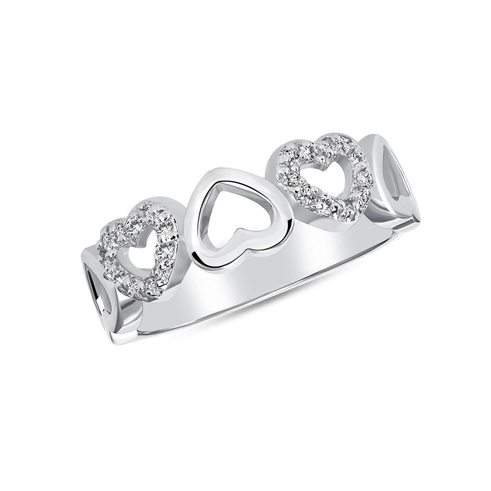 Sterling Silver Multi Hearts Ring
