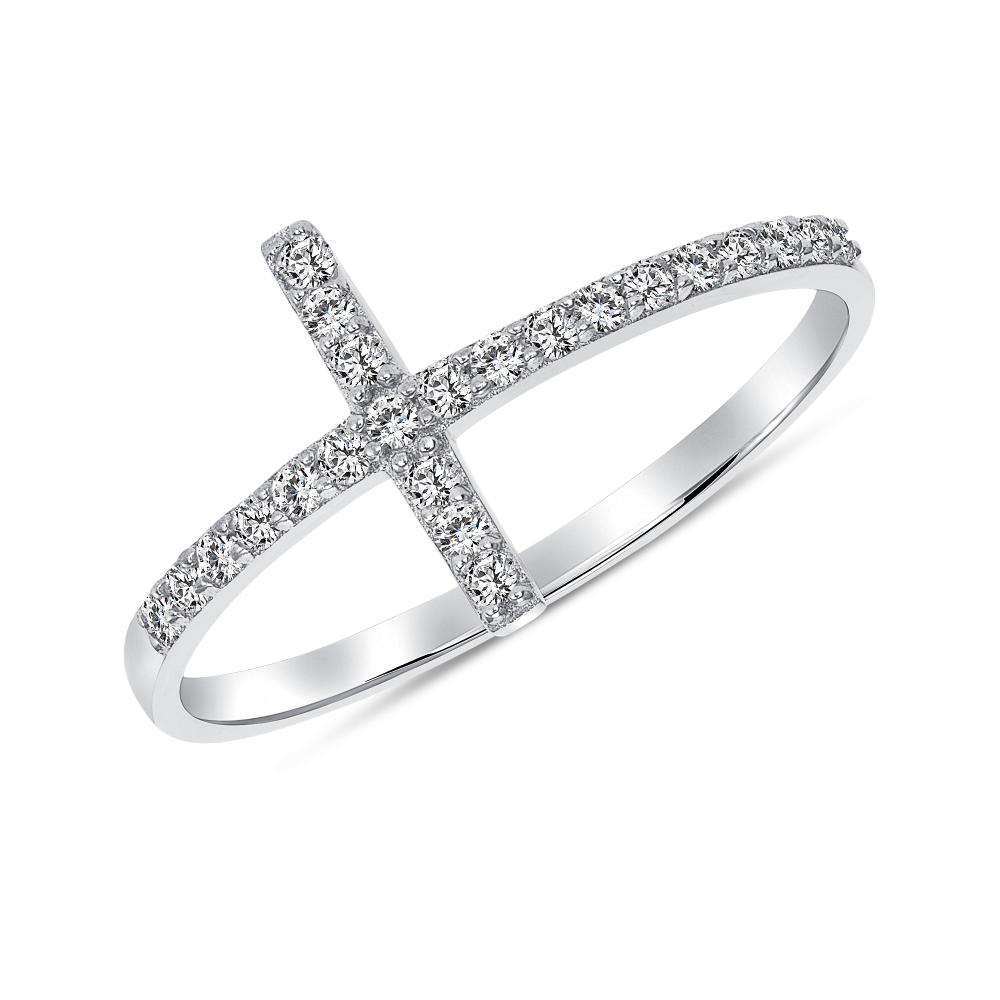 Sterling Silver Sideway Cross Ring