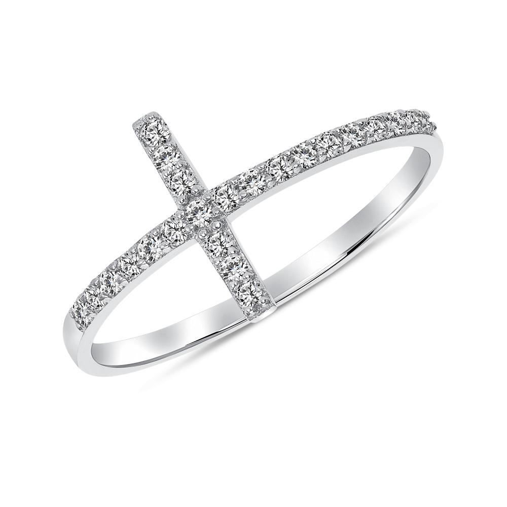 Sterling Silver Sideway Cross Ring