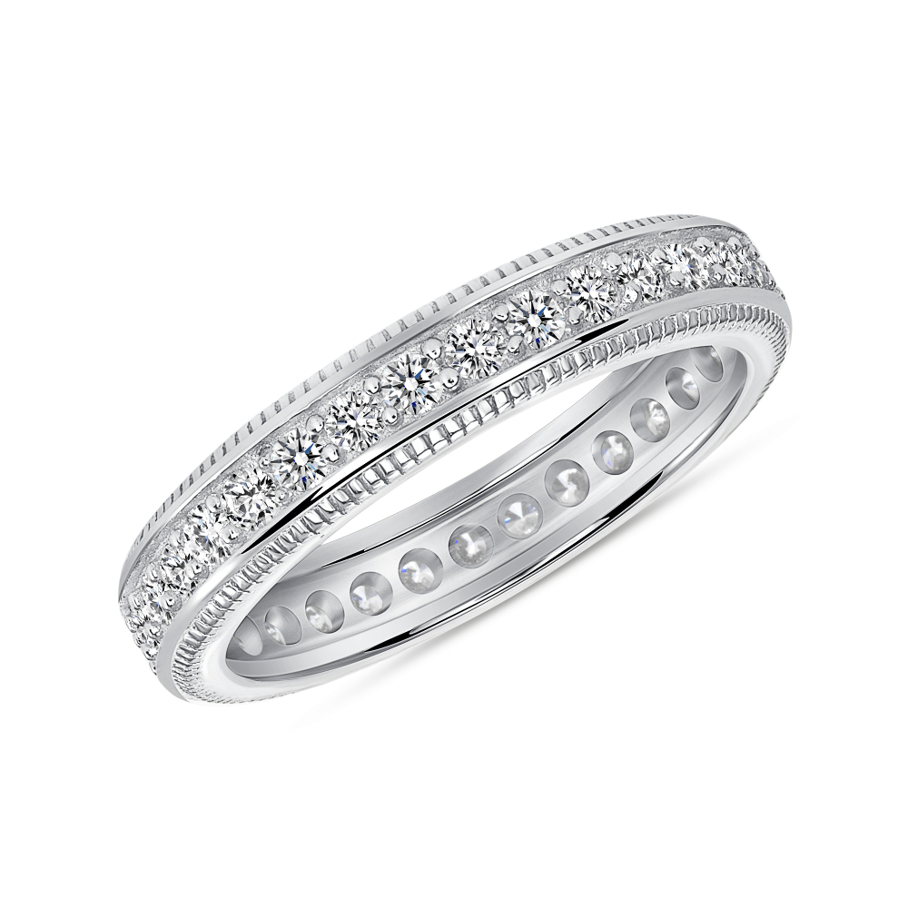 Sterling Silver Fancy CZ Band Ring