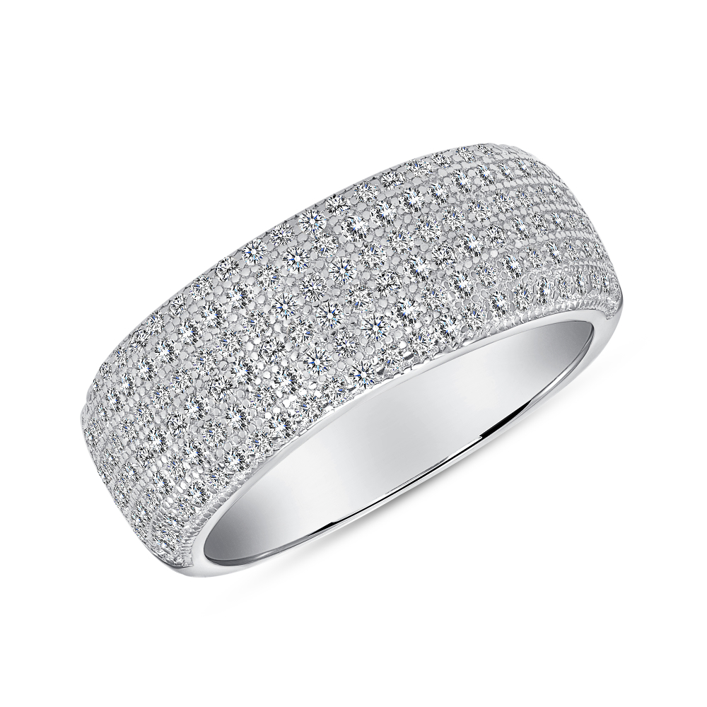 Sterling Silver Micro Pave Fancy 6 Row Band