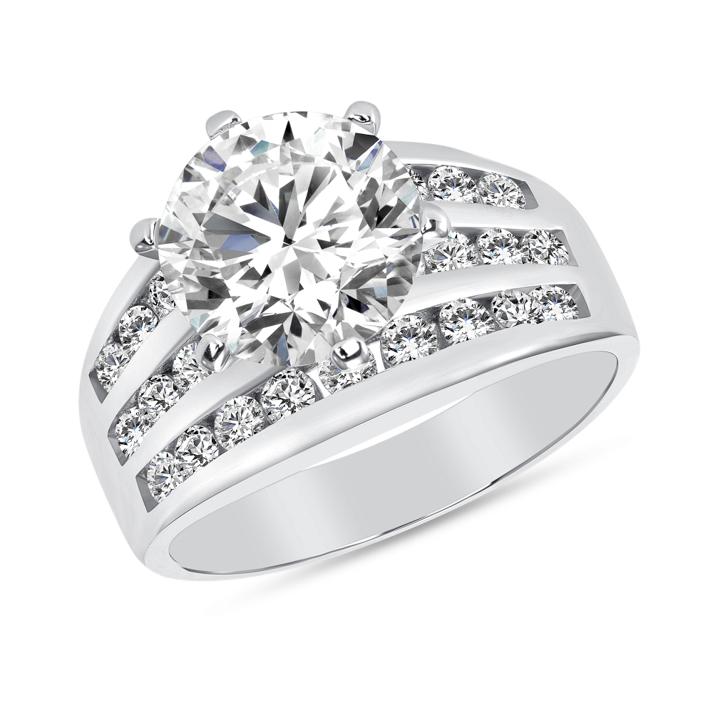 Sterling Silver 3 Row Pave Round Engagement Ring