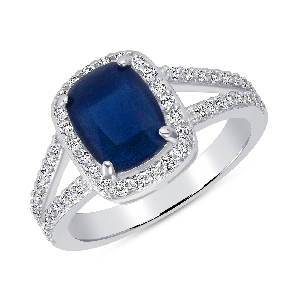Sterling Silver Sapphire Matte Glass Ring