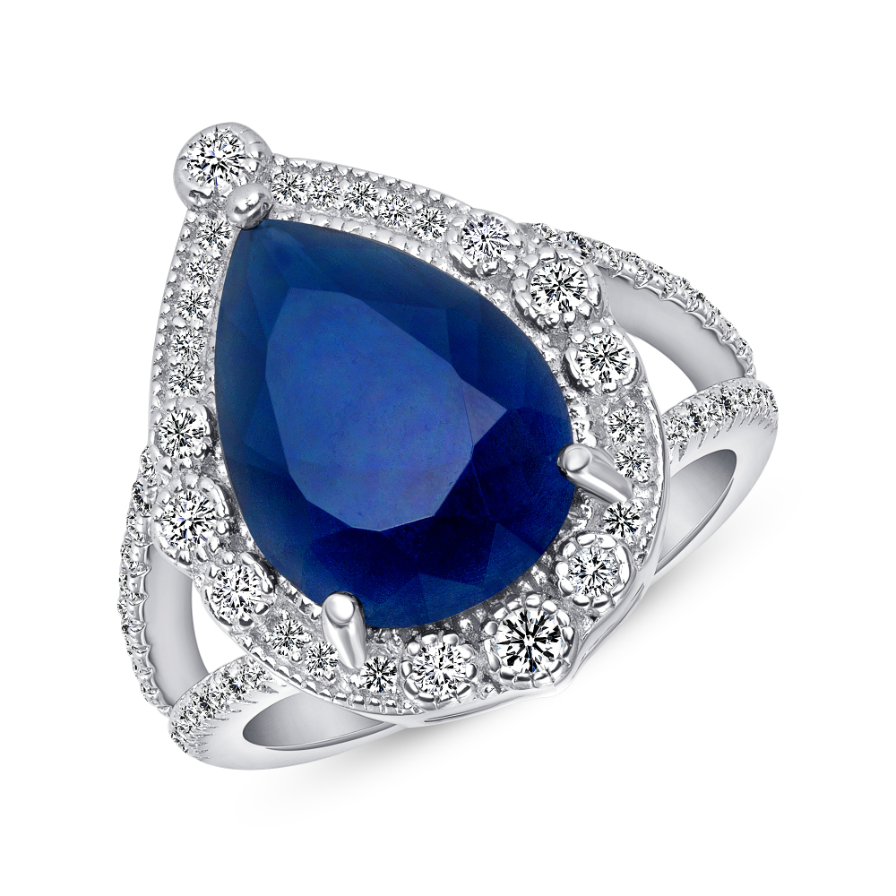 Sterling Silver Pear Shape Sapphire Ring