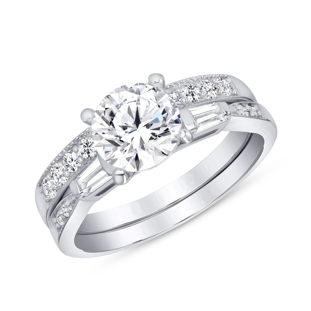 Sterling Silver 2 Wedding Ring Engagement Ring set