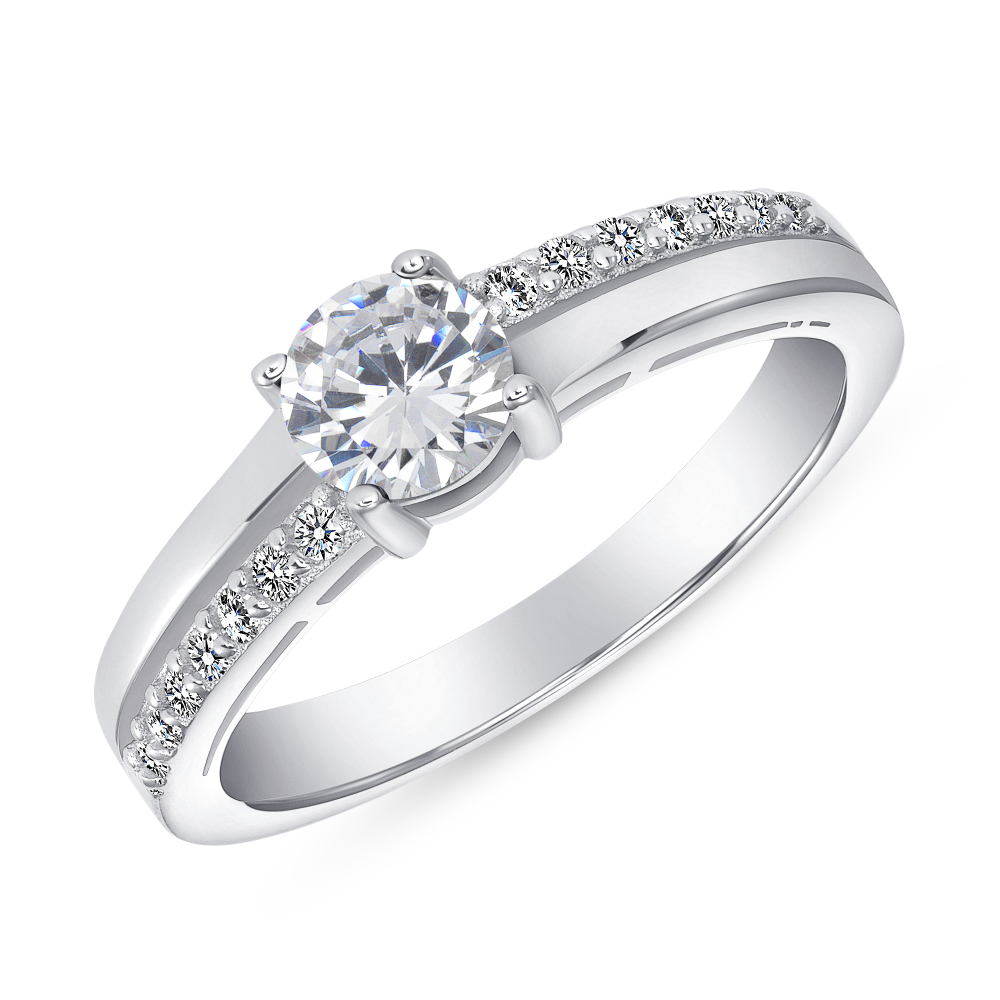 Sterling Silver Clear Round Engagement Ring