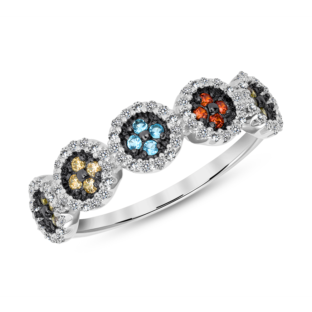 Sterling Silver Multi Color Flower Ring