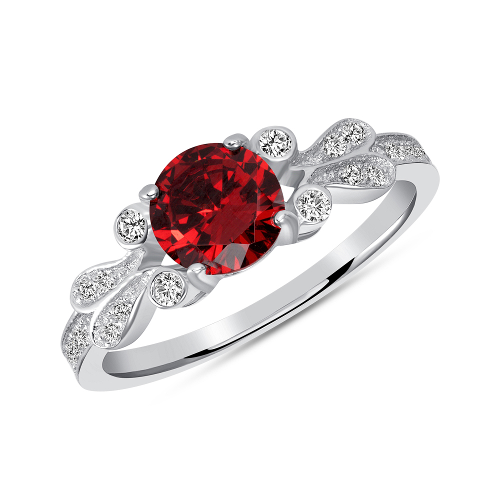Sterling Silver Round Garnet Solitaire Ring