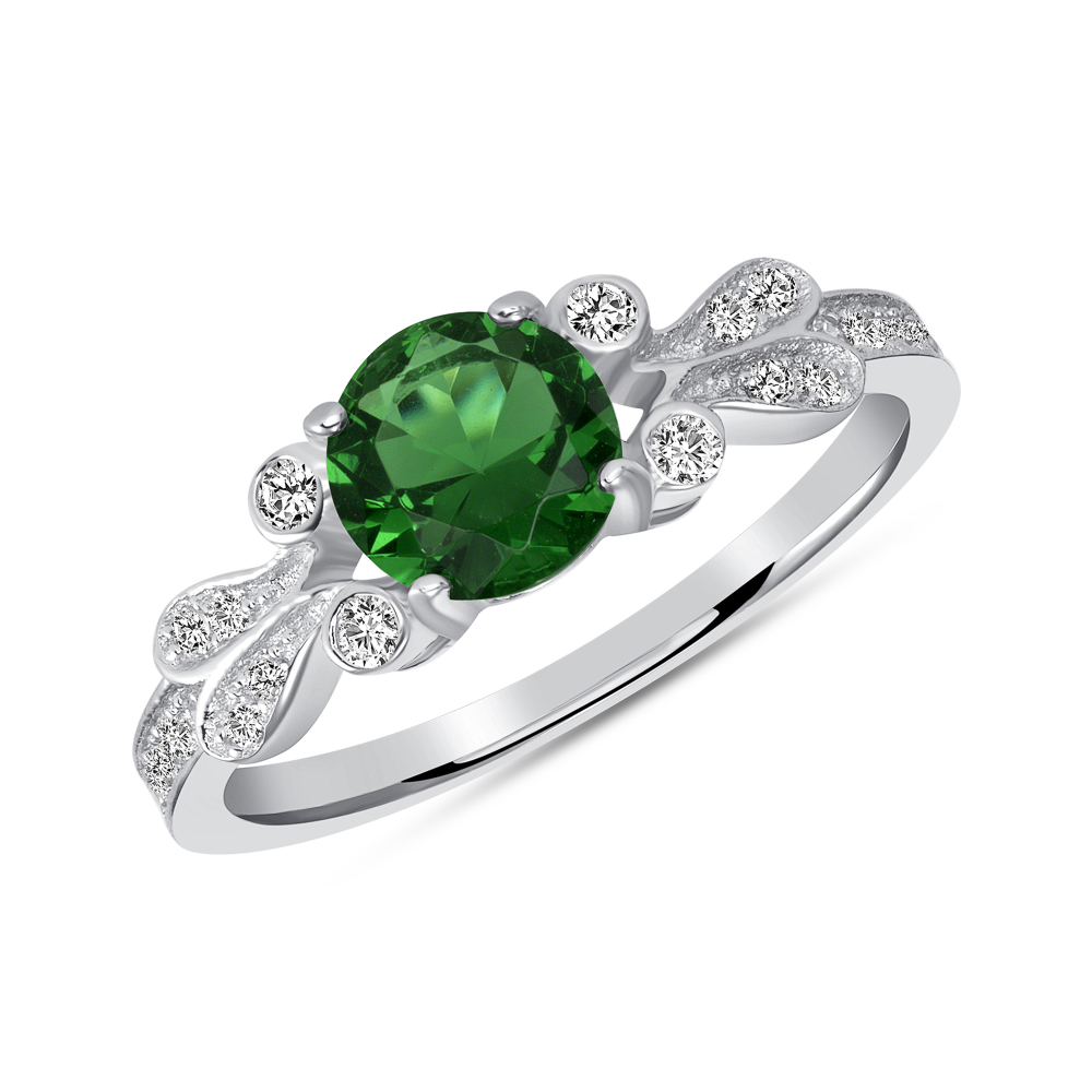 Sterling Silver Round Emerald Solitaire Ring