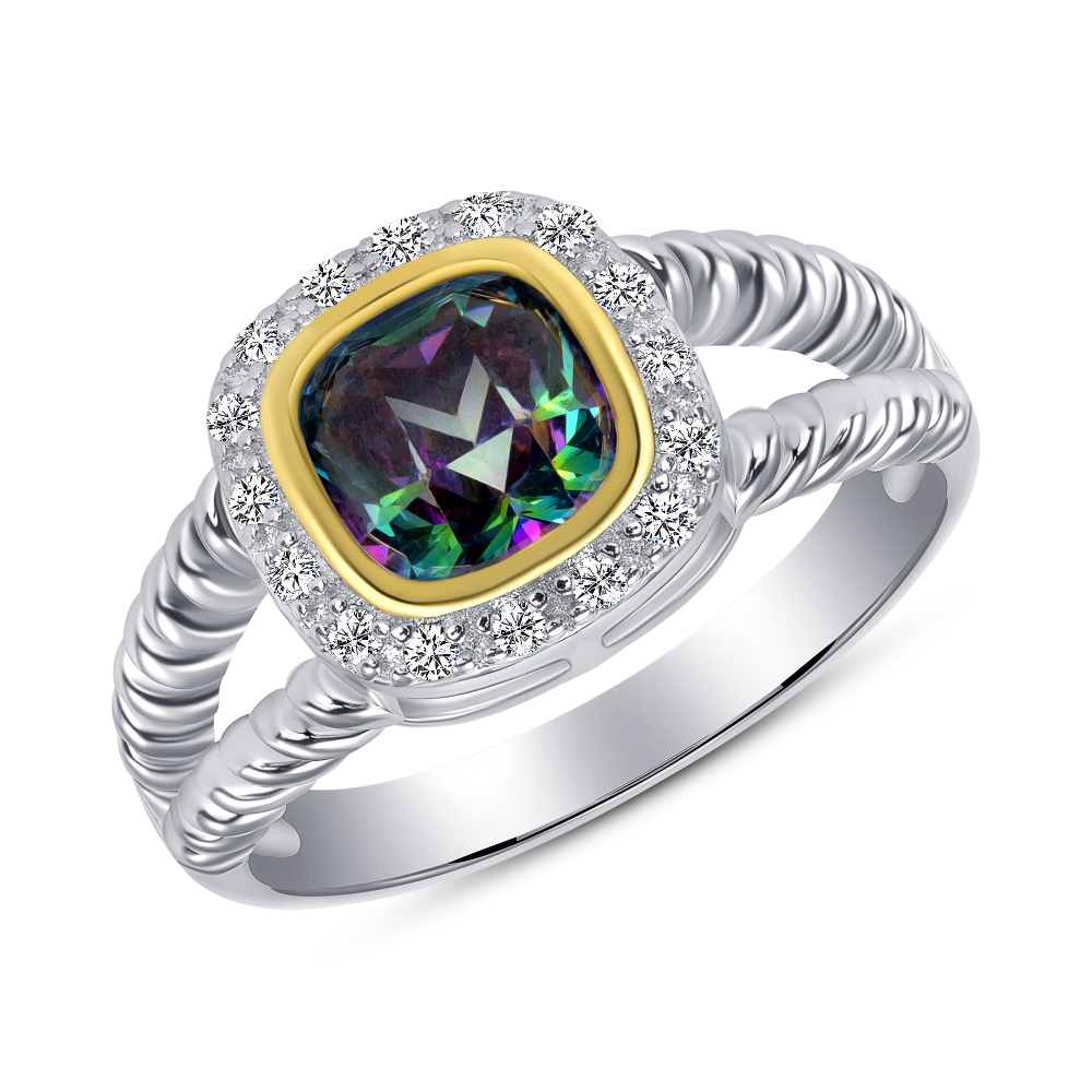 Sterling Silver 2 Tone Square Mystic Topaz Ring