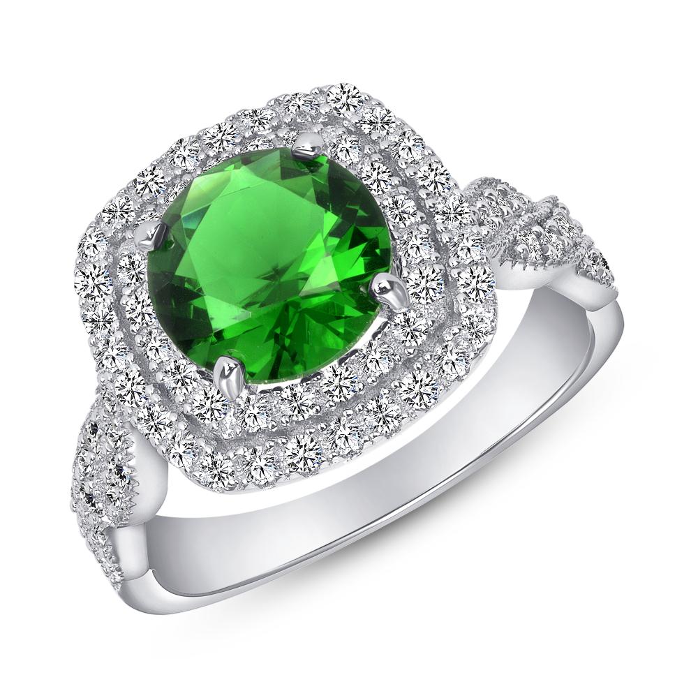 Sterling Silver Fancy Emerald Ring