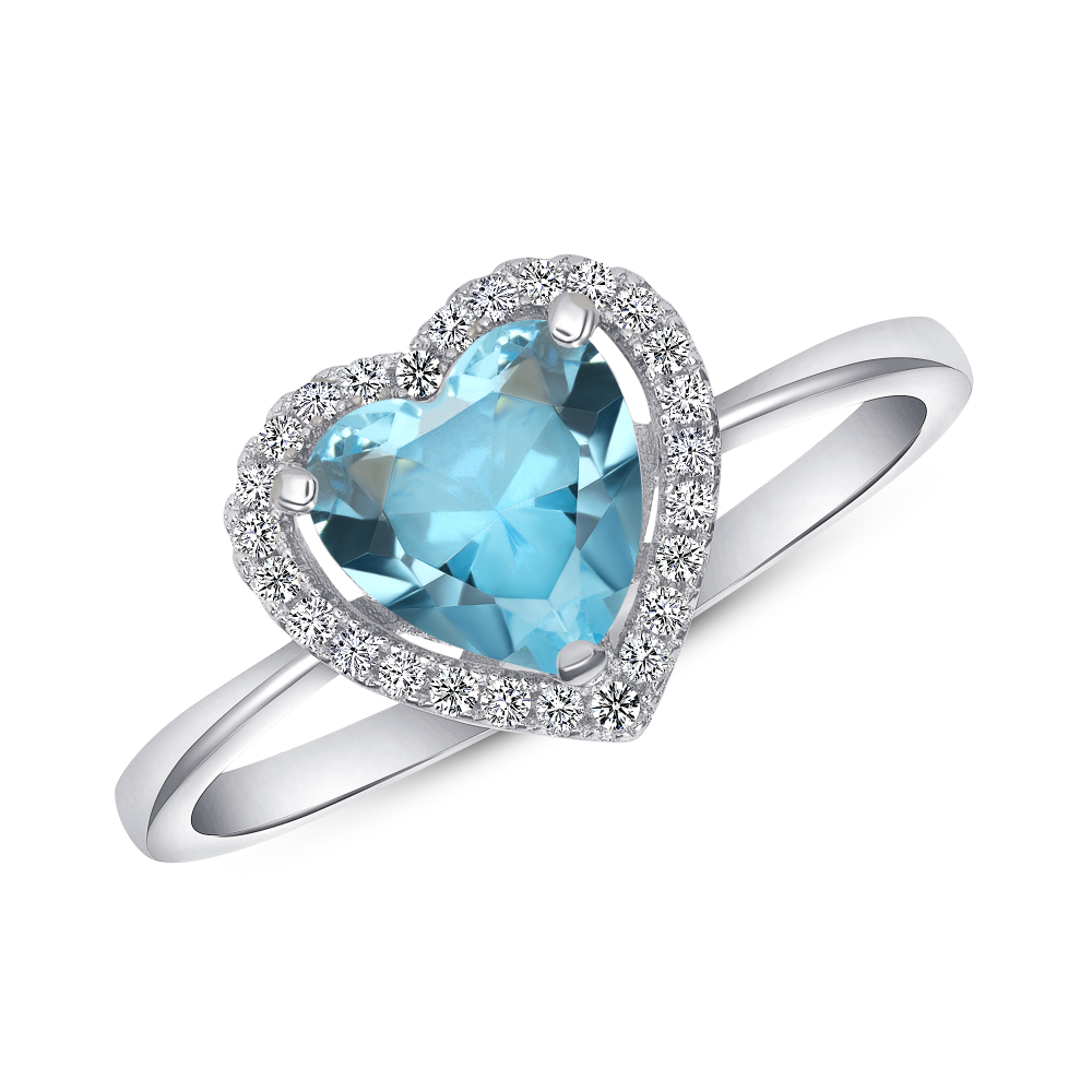 Sterling Silver Heart Aqua Ring