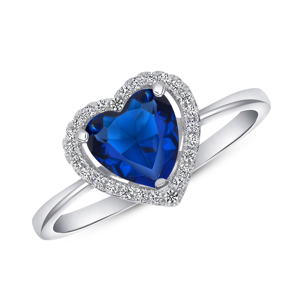 Sterling Silver Heart Sapphire Ring