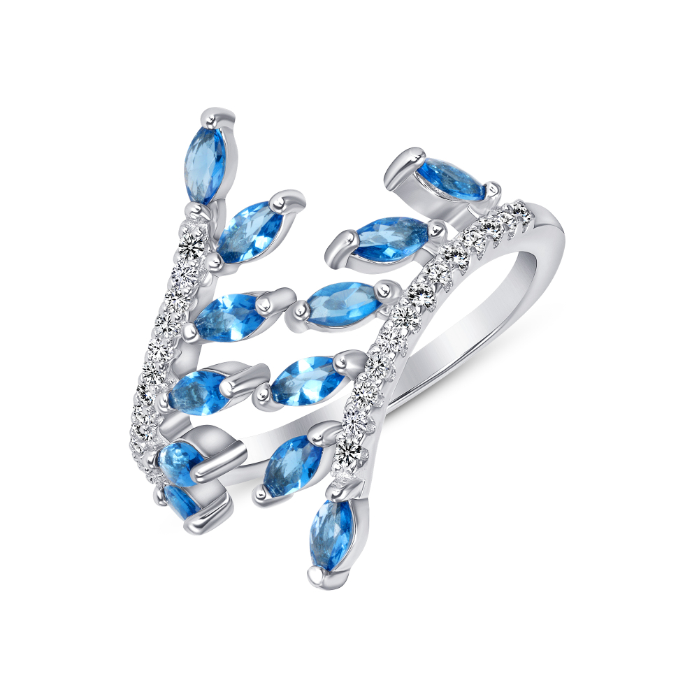Sterling Silver Sapphire Endless Leaves Ring