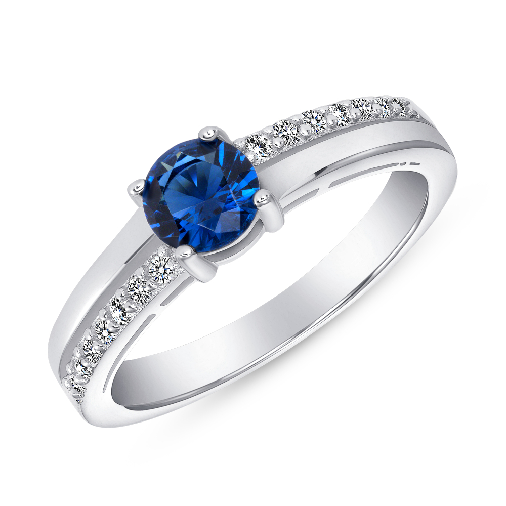 Sterling Silver Sapphire Round Engagement Ring