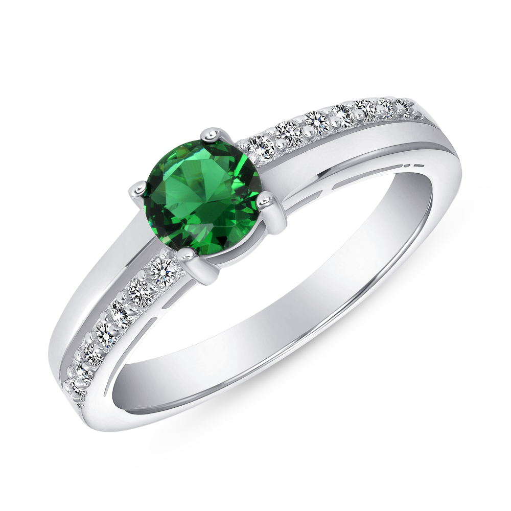 Sterling Silver Emerald Round Engagement Ring