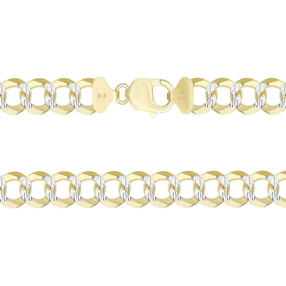 925 Sterling Silver Cuban 2 tone Pave Chain