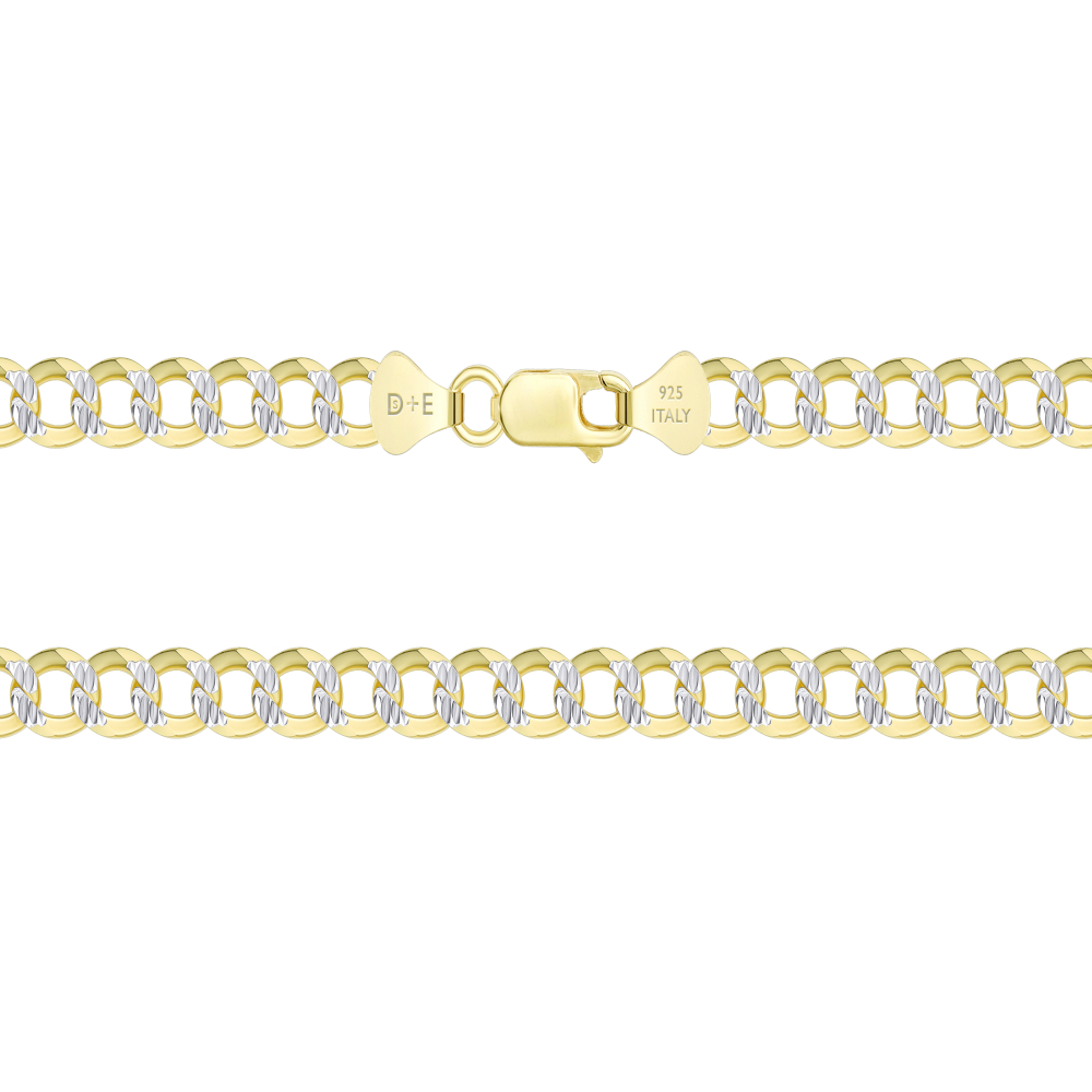 Sterling Silver Cuban 2 Tone Pave Chain