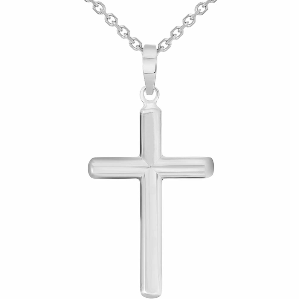 White Gold Traditional Religious Plain Cross Pendant Necklace