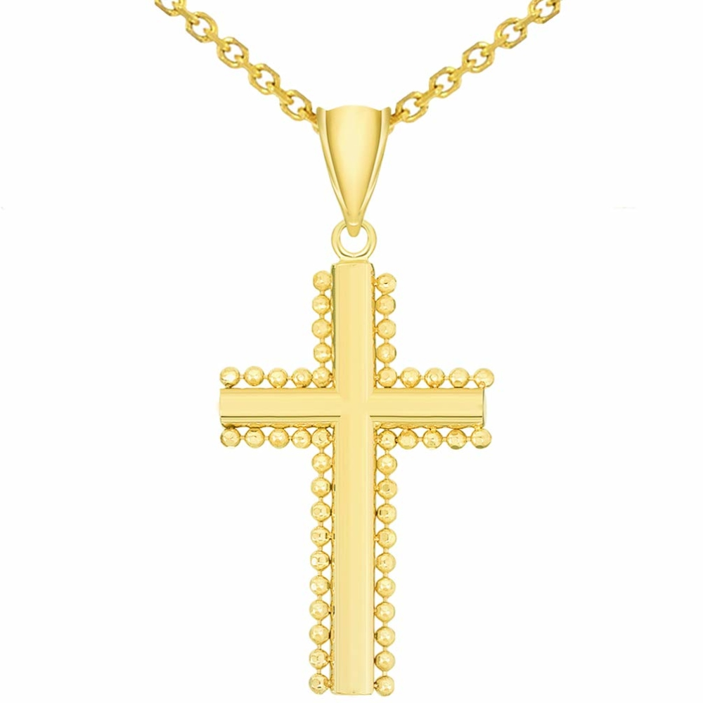 Yellow Gold Beaded Edged Plain Religious Cross Pendant with Figaro Chain Necklace