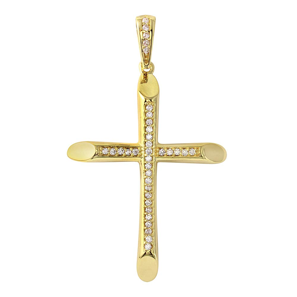 14K Yellow Gold Tube Cross Crucifix Charm Pendant
