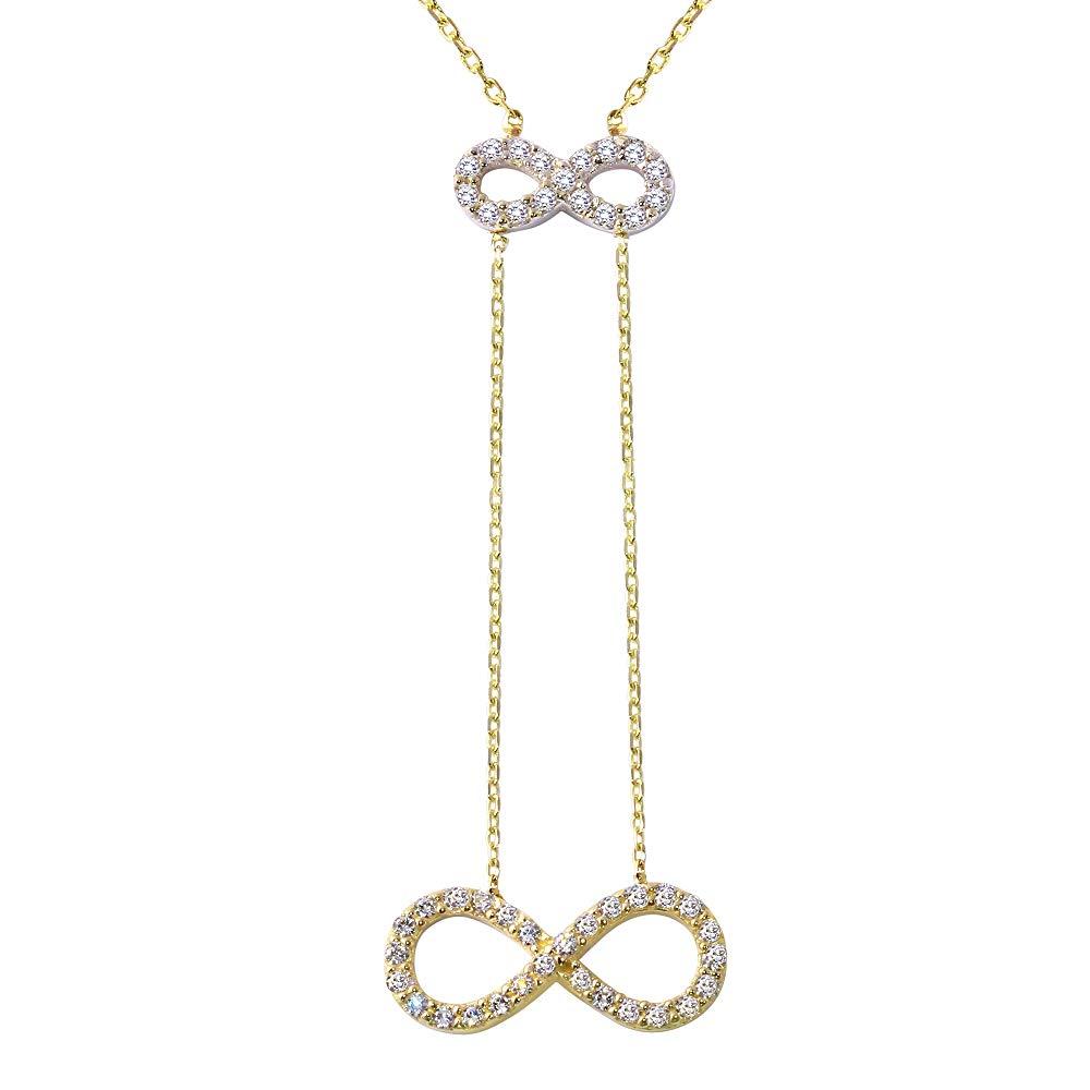 14K Two-Tone Gold Double Infinity Pendant