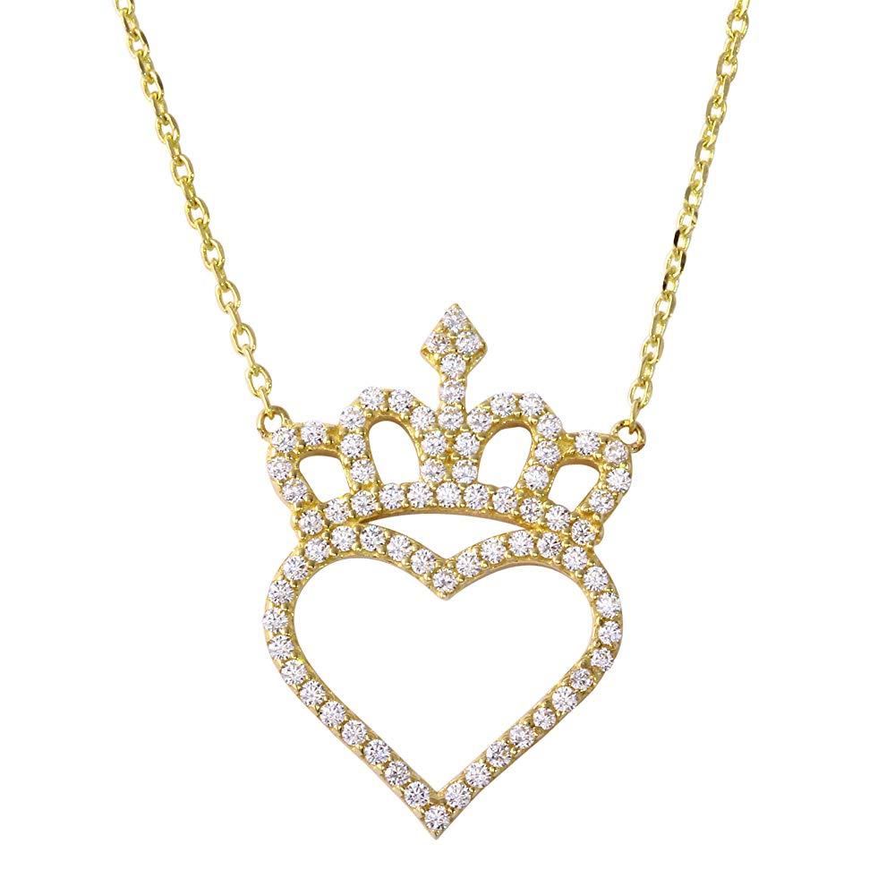 14K Gold Cubic Zirconia Heart Crown Pendant