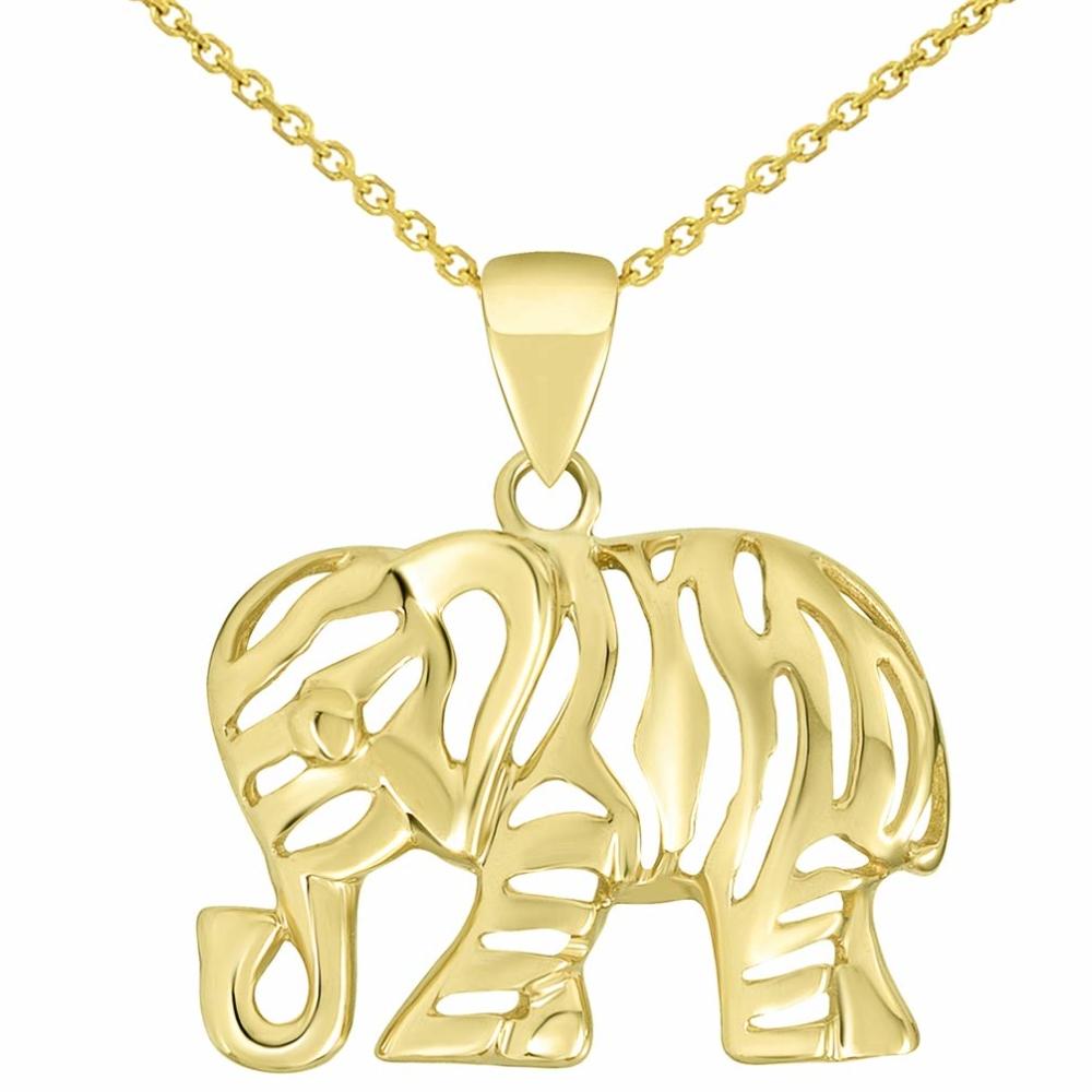 14K Yellow Gold Elegant Elephant Pendant