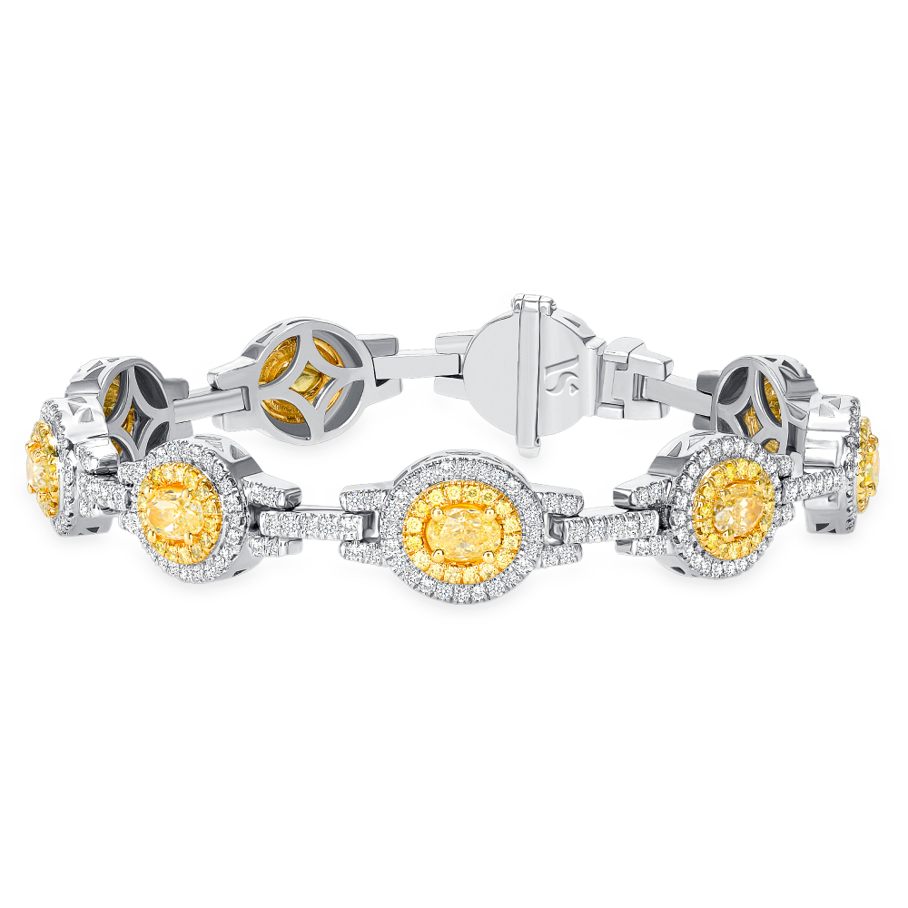 Two Tone Oval Diamond Bracelet | Sabrina A Inc