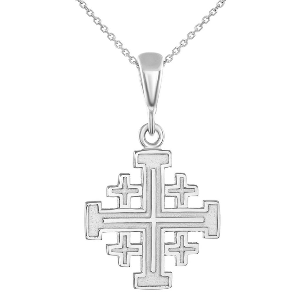 White Gold Crusaders Jerusalem Cross Pendant Necklace