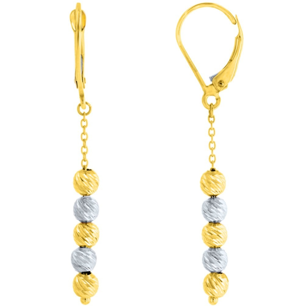 14K Two Tone Gold Textured Layered Ball Earring