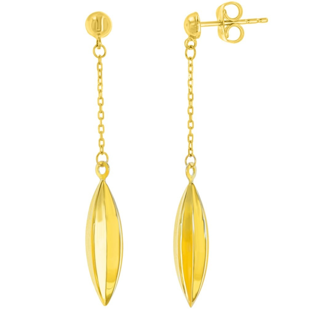 14K Yellow Gold Oval Dangling Drop Earring