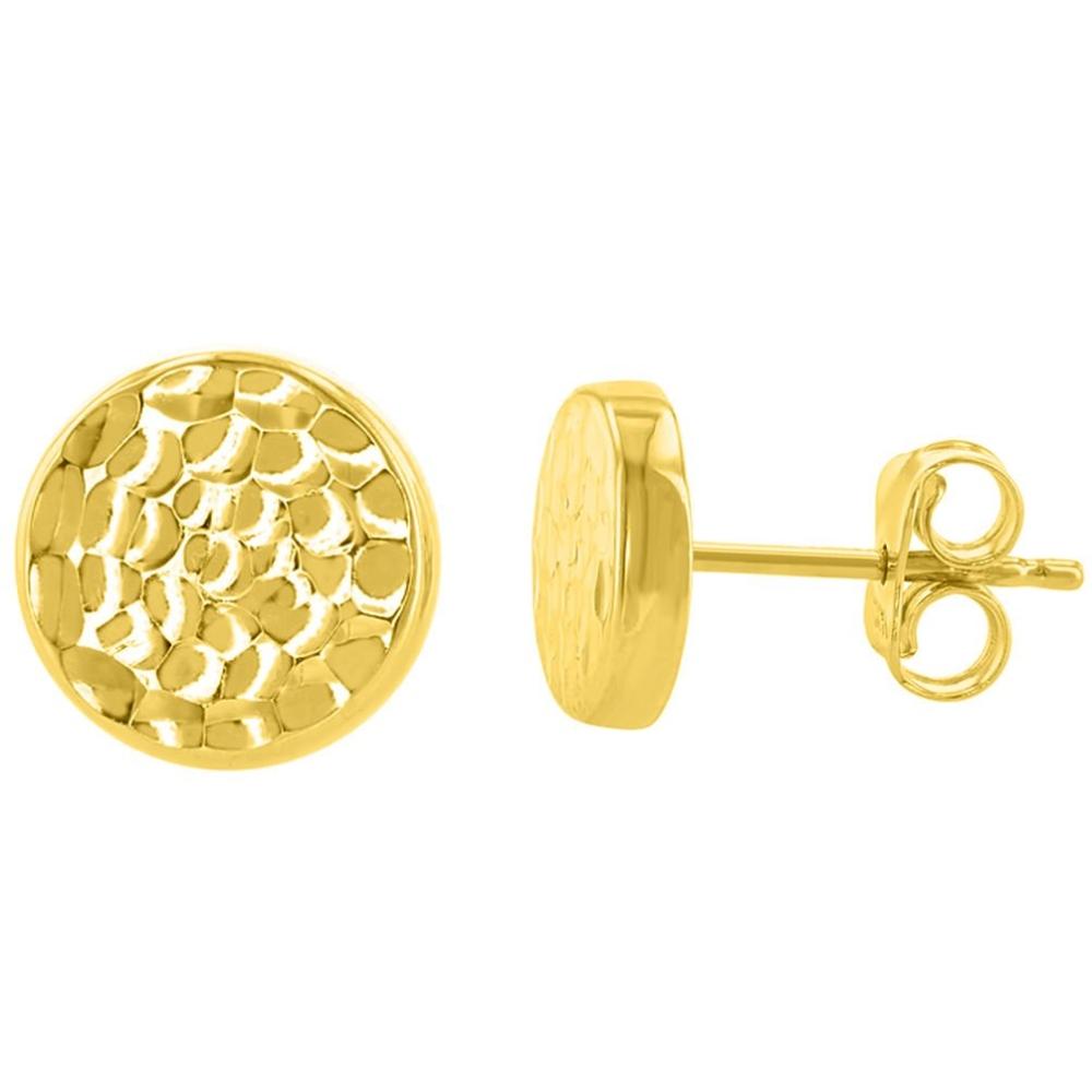 14K Yellow Gold Hammered Circle Stud