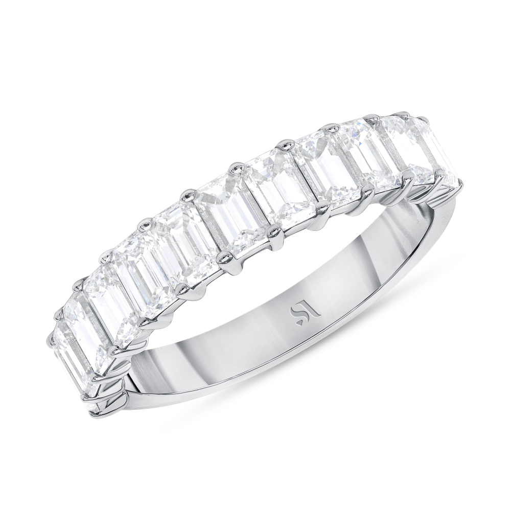 Emerald Cut Halfway Eternity Band | Sabrina A Inc