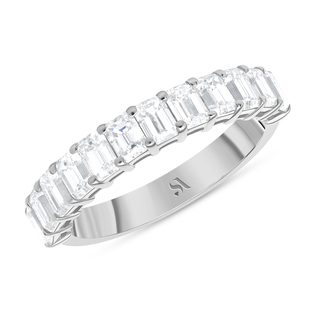 Emerald Cut Halfway Eternity Band Basket Setting White Gold