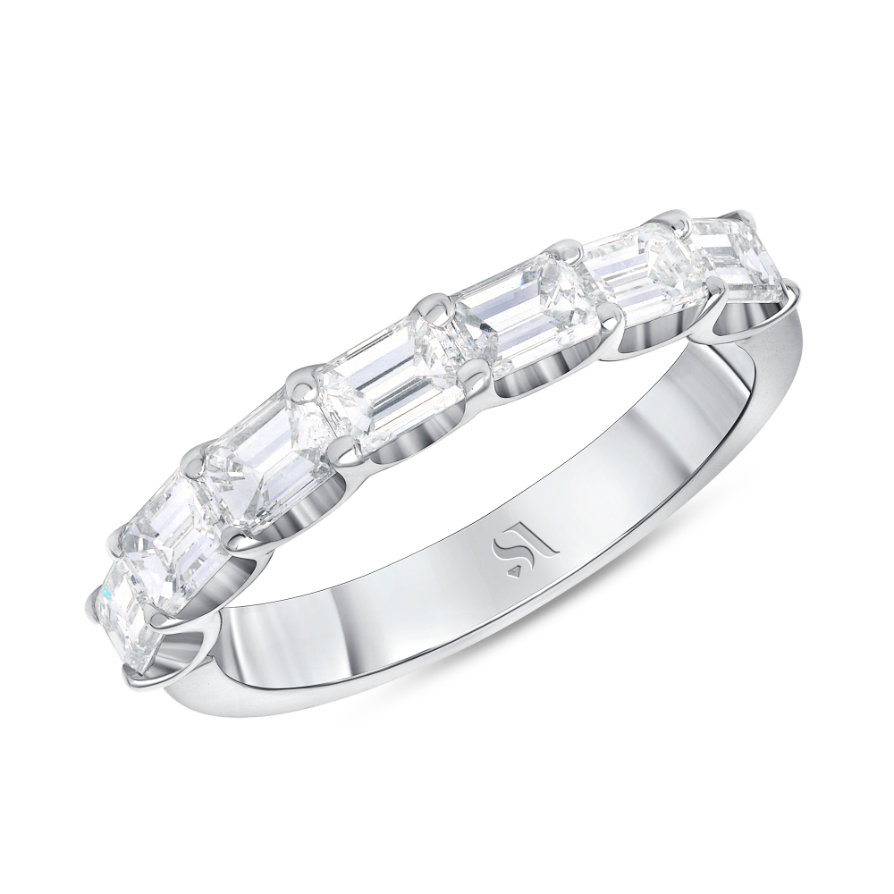 emerald diamond half eternity band white gold