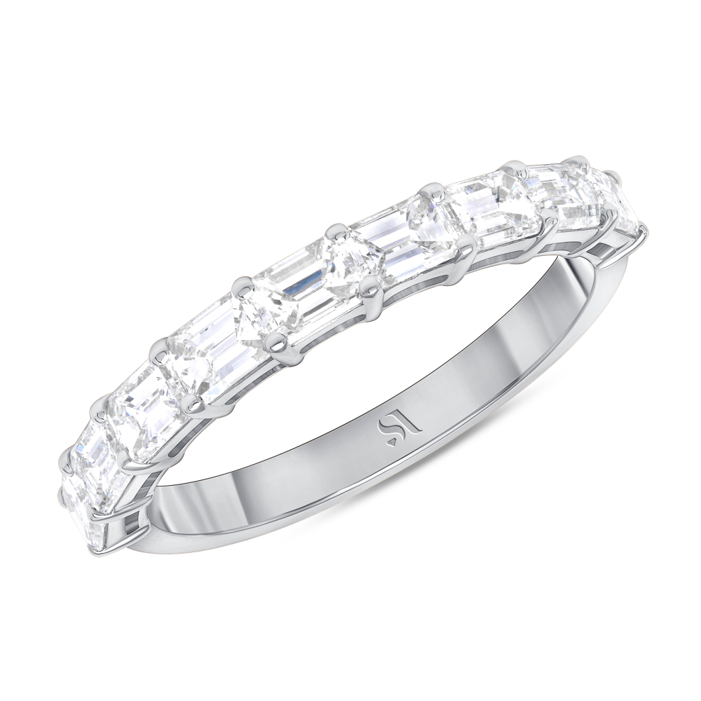 EastWest side Emerald Halfway Eternity Band | Sabrina A Inc