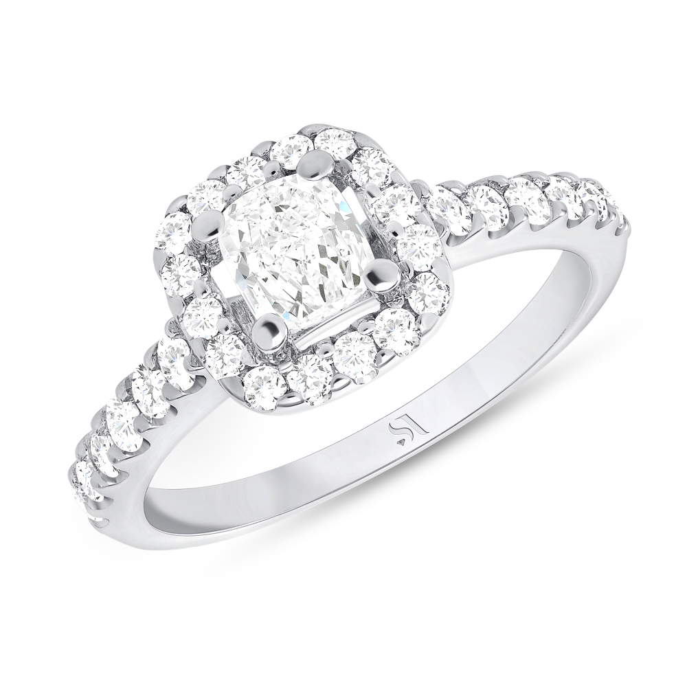 1 carat cushion cut halo diamond ring