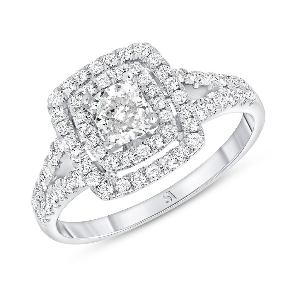 cushion cut double halo engagement rings