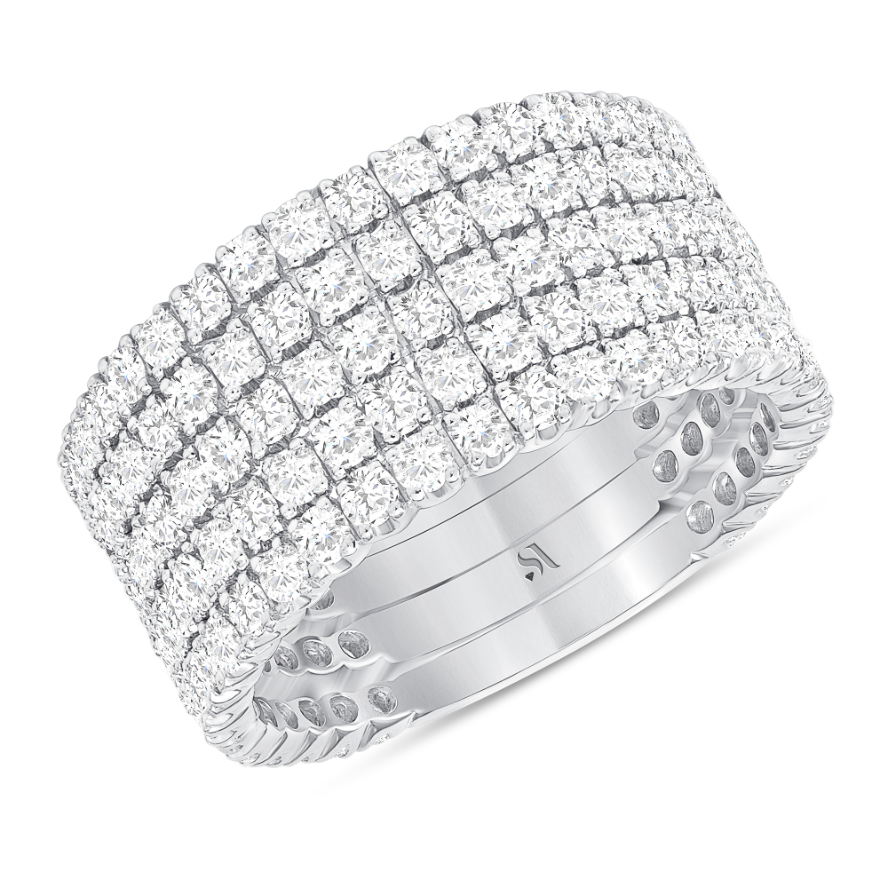 multi row diamond band | multiple band diamond ring