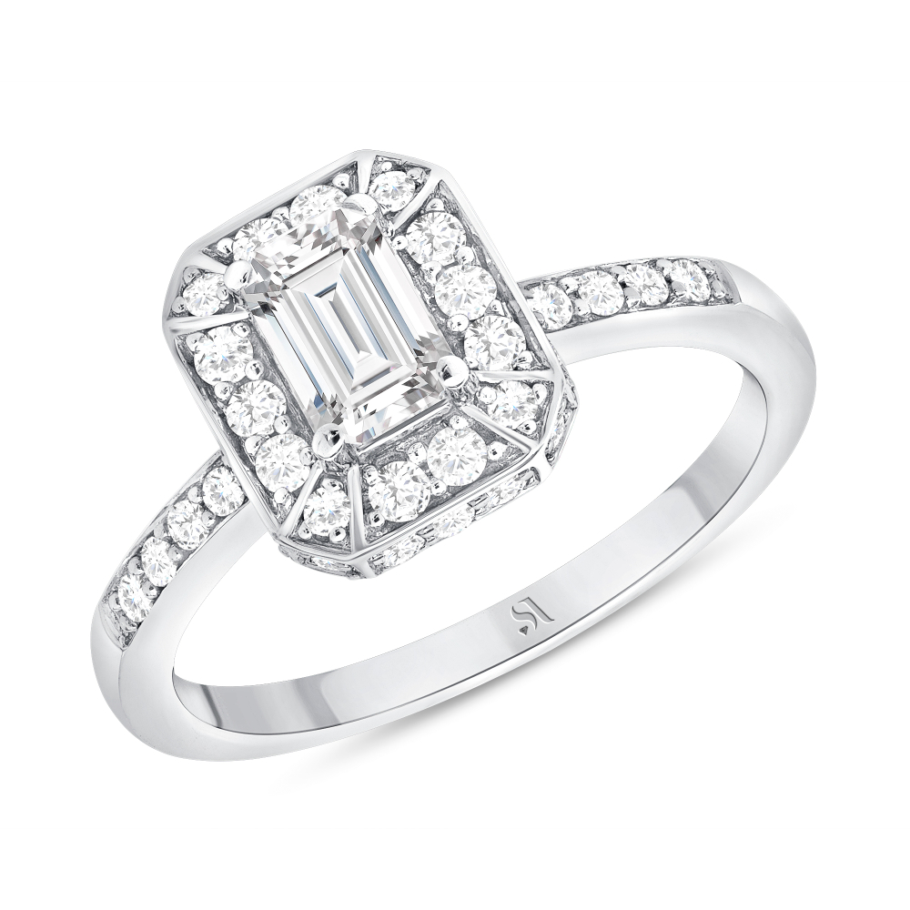 emerald cut diamond engagement ring white gold