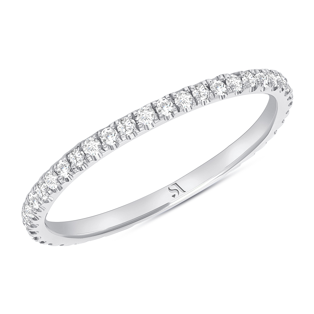 dainty diamond eternity band white gold