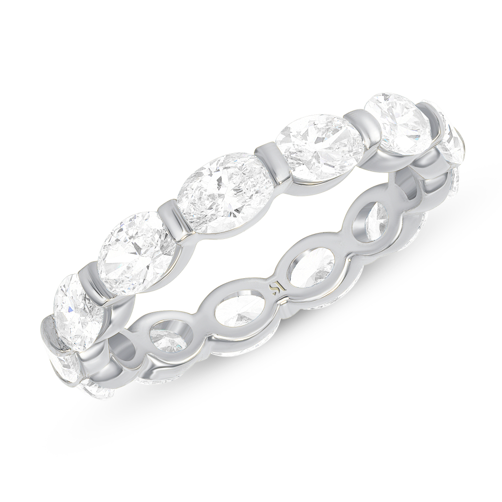 oval cut eternity band white gold