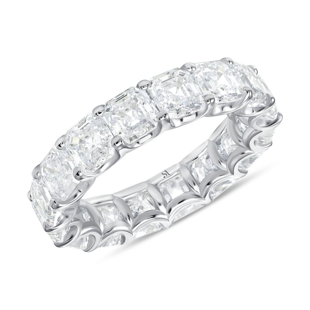 white gold asscher cut diamond eternity band