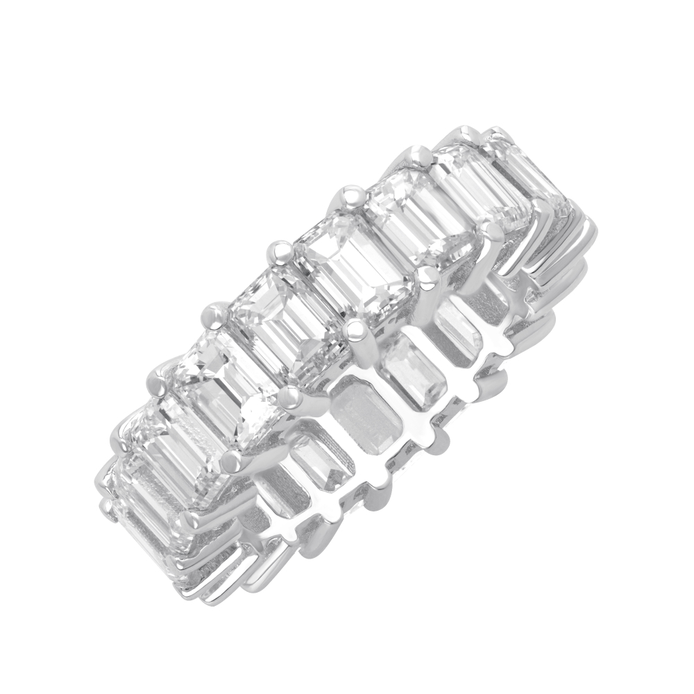 emerald diamond eternity band in white gold