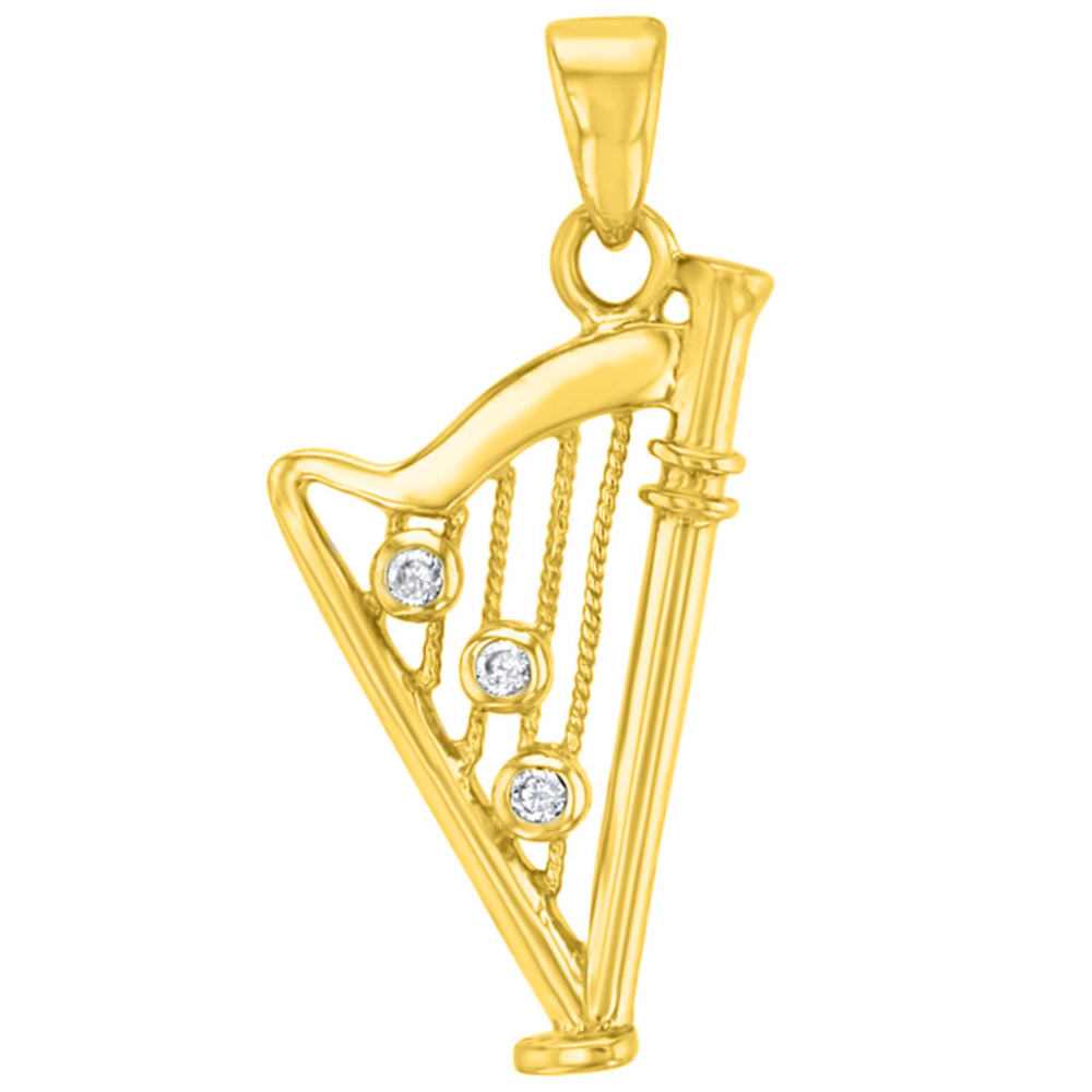 Solid 14K Yellow Gold CZ Harp Charm Musical Instrument Pendant