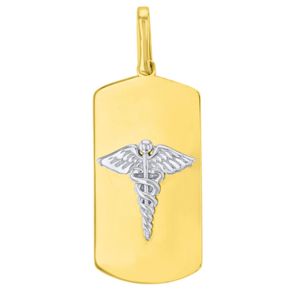 Solid 14K Two Tone Gold Caduceus Charm Medical Symbol Pendant